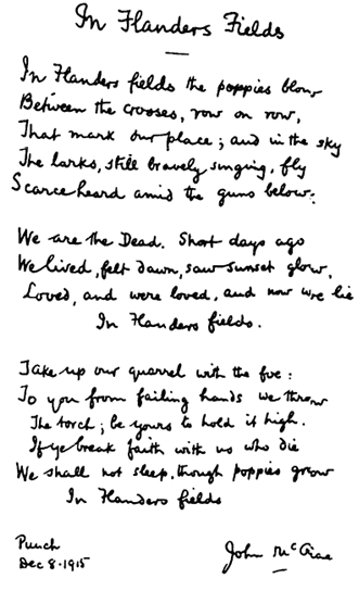 Flanders Field Original Poem